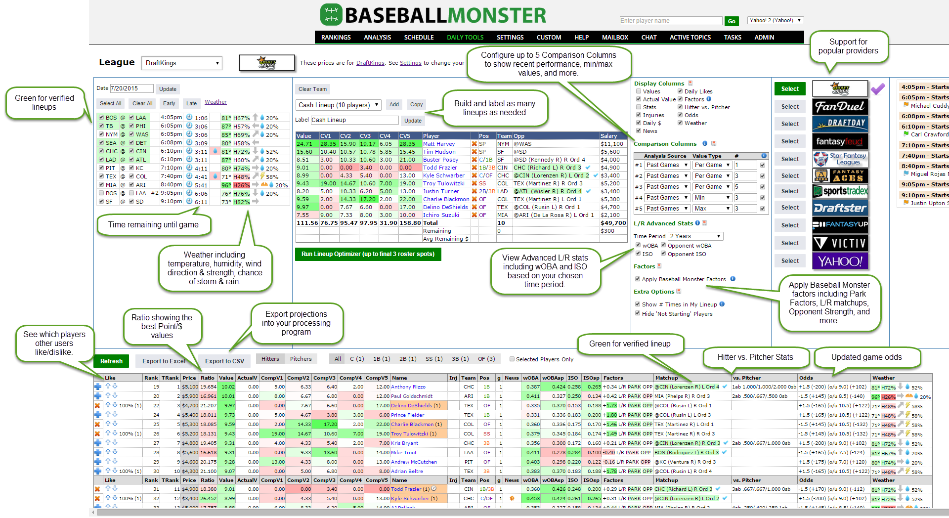 Baseball Monster DFS screenshot